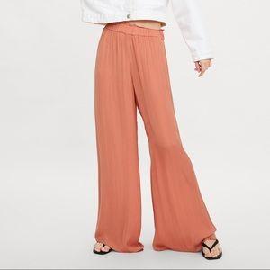 NWT ZARA Trousers Wide Leg Orange S